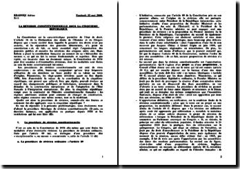 La révision constitutionnelle sous la Vème République