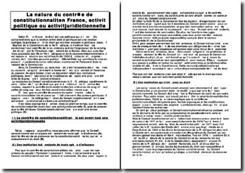 La nature du contrôle de constitutionnalité en France, activité politique ou activité juridictionnelle?