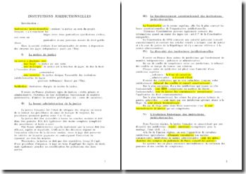 Les institutions juridictionnelles - applications et autorité au niveau national, communautaire et international