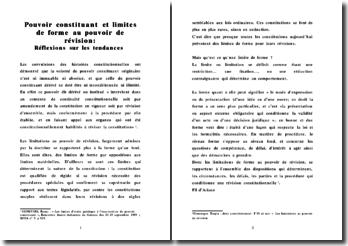 Les limitations de forme au pouvoir de révision de la Constitution