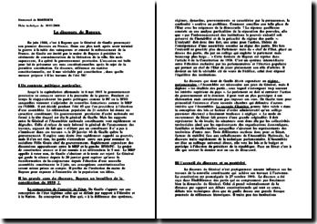 Le discours de Bayeux et les grands axes du discours