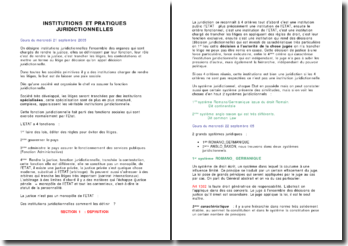 Institutions et pratiques juridictionnelles - définitions, typologie, et magistrature