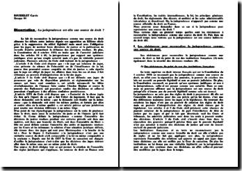 La jurisprudence est-elle une source de droit ? (version 2)