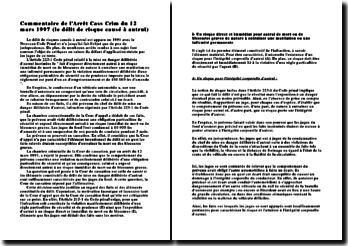 Cass. Crim. 12 mars 1997, le délit de risque causé à autrui