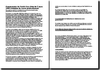 Cass. Crim. 7 mars 1989, violation de secret professionnel