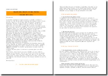 Traité des délits et des peines de Cesare Beccaria : exposé de lecture