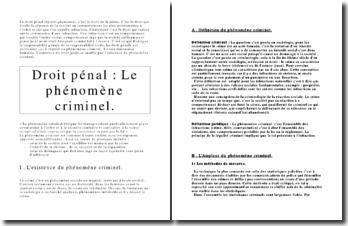 Droit pénal : Le phénomène criminel