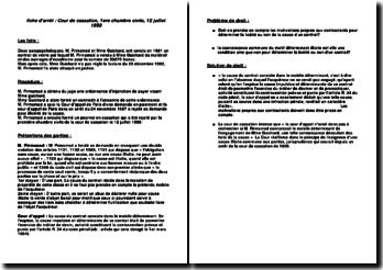 Cassation 1ère Civ. 12 juillet 1989