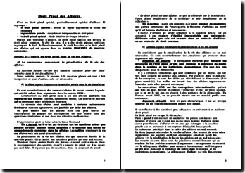 Droit penal des affaires - sources, infractions communes et répression