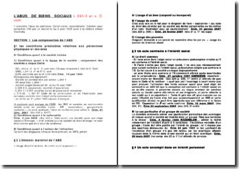 Les composantes et le régime juridique de l'Abus des Biens Sociaux