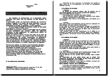 Personnalité morale en droit français, réalité ou fiction?