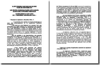 Les textes communautaires applicables en matière familiale : le règlement N 2201/2003 dit règlement 'Bruxelles II bi
