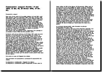 Commentaire comparé d'arrêts de la Cour de Cassation ( 9 mai 1984; 12 déc. 84, 28 février 1996, 19 fév. 97)