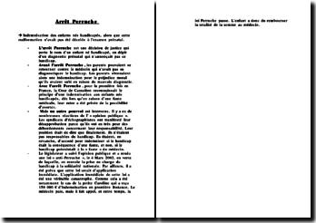 Résumé de l'arrêt Perruche