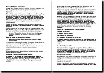 Les articles 220 et 214 du code civil