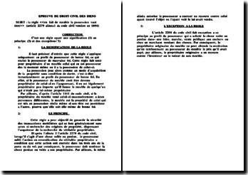 La règle 'en fait de meuble la possession vaut titre' (article 2279 alinea1 du code civil version ce 1804)