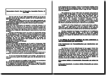 Commentaire d'arrêt : Cour de Cassation, Assemblée Plénière, 15 avril 1988