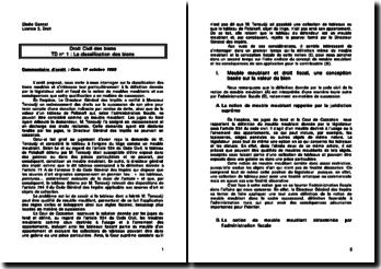 La classification des biens, commentaire, Com. 17 octobre 1995