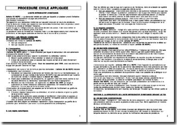 L'acte introductif d'instance et les règles communes