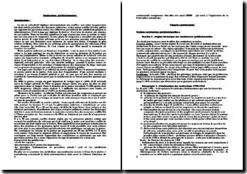 Institutions juridictionnelles - l'arbitrage et les tribunaux dans la gestion des conflits