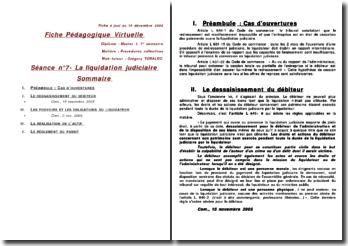 La liquidation judiciaire - déssaisissement, pouvoir et obligations, règlement du passif