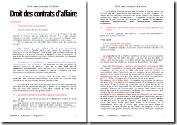 Droit des contrats d'affaire