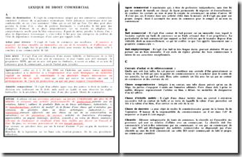 Lexique de droit commercial