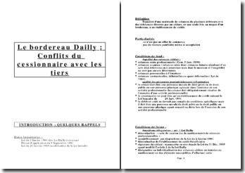 Le bordereau dailly : conflits du cessionnaire avec les tiers