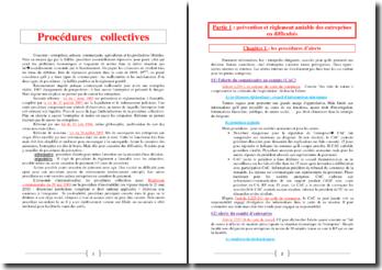 Cours de procédures collectives