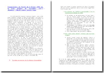 Commentaire de l'arrêt du 6 février 1991 de la Cour d'appel de Versailles (14ème chambre) : Bloch contre sociét?