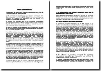 Commentaire de l'arrêt de la chambre commerciale de la Cour de cassation en date du 14 février 2006.