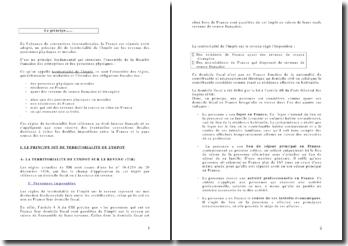 Territorialité de l'impôt et ses exceptions : le cas de la France