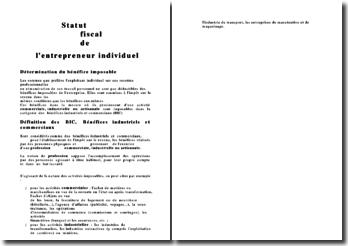 Le statut fiscal de l'entrepreneur individuel