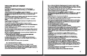 Le principe de l'égalité devant l'impôt (version 2)