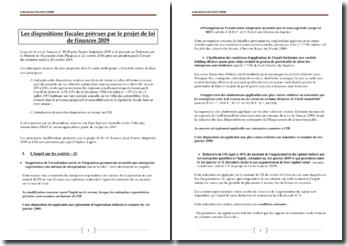 Les dispositions fiscales prévues par le projet de loi de finances 2009