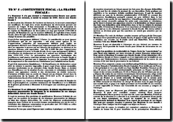TD sur la fraude fiscale (contentieux)
