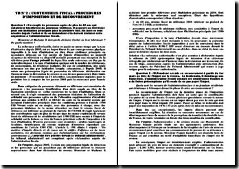 Cas pratiques : procédures d'imposition et recouvrement