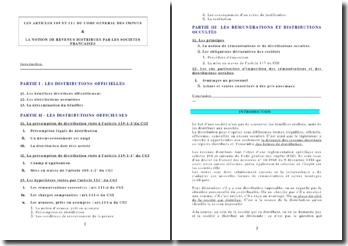 Les articles 109 et 111 du CGI et la notion de revenus distribués par les sociétés françaises