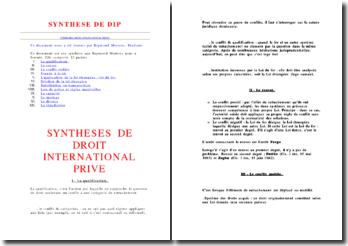 Fiche de synthèse générale de droit international privé