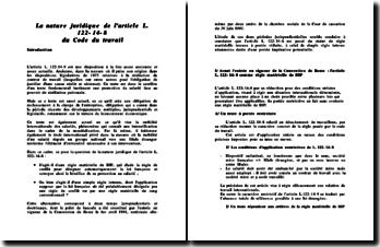 La nature juridique de l'article L 122-14-8 du code du travail