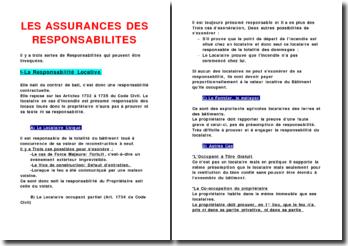 Les assurances des responsabilités locatives