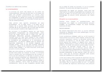 Conditions de validité du contrat - consensualisme et engagement