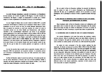 Cass. Civ 1ère. 14 Décembre 1999 - Distinction contrat d'entreprise et de vente