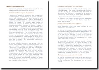 La classification des contrats - synallagmatiques et unilatéraux, à titre onéreux ou gratuit, commutatif et contre aléatoire, etc.