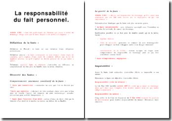 La responsabilité du fait personnel
