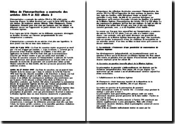 Bilan de l'interprétation a contrario des articles 334-9 et 322 alinéa 2 du Code Civil