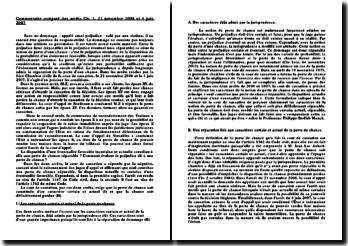 Commentaire comparé des arrêts Cass. 1ère Civ. 21 novembre 2006 et 4 juin 2007 sur la perte de chance