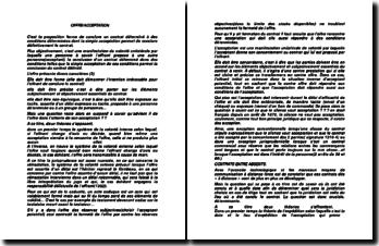 Offre et acceptation d'un contrat entre absents