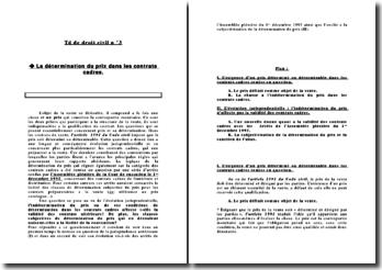 La détermination du prix dans les contrats cadres - objet de la vente, jurisprudence, validité et subjectivisation