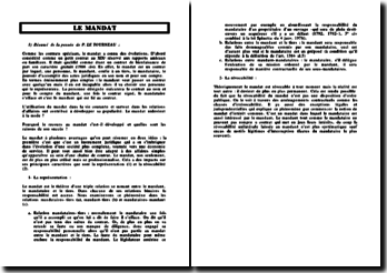 Résumé sur le mandat, d'après la doctrine de Philippe Le Tourneau